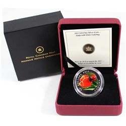 2011 Canada $20 Tulip with Venetian Glass Ladybug Fine Silver Coin (Tax Exempt).