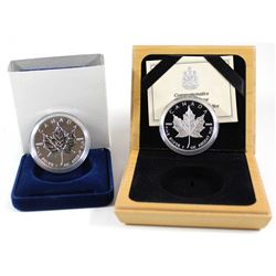 1989 & 1994 $5 Commemorative 1oz Fine Silver Maple Leaf Issues (Tax Exempt). 2pcs.