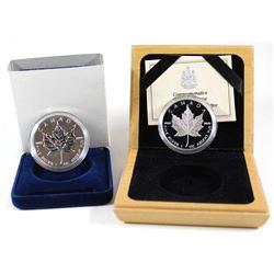 1989 & 1994 $5 Commemorative 1oz Fine Silver Maple Leaf Issues (Tax Exempt). 2pcs.