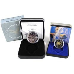 1997 10th Anniv. Silver Proof Loon Dollar & 1996 Silver Proof $2 Coin. 2pcs.