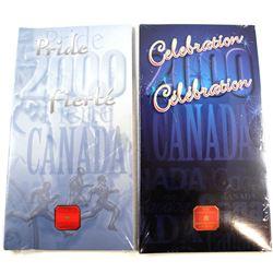 2000 Celebration & 2000 Pride Canada Day Coloured 25-cent Set. 2pcs.