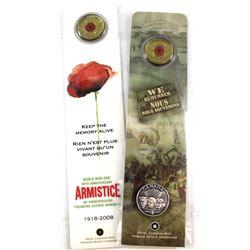 2005 Poppy 25-cent & Lapel Pin Bookmark & 2008 Poppy - Armistice 25-cent Bookmark. 2pcs.