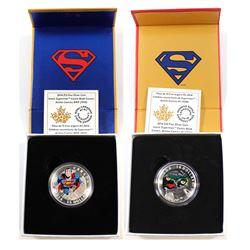 2014 Canada $10 Superman Action Comics #1 (1938) & 2014 Canada $15 Superman Action Comics #419 (1972