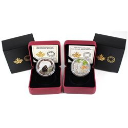 2015 Canada $20 White-Tailed Deer & 2016 Canada $20 Porcupine Fine Silver Coins (Tax Exempt). 2pcs.