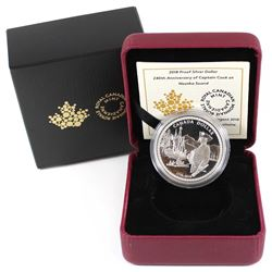 2018 Canada 240th Anniversary Captain Cook at Nootka Sound Proof Silver Dollar (Tax Exempt).