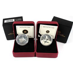 2009 & 2010 Canada Sterling Silver Proof Dollars. Please note coins/capsules are impaired. 2pcs.