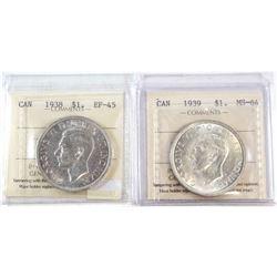 1938 Canada Silver Dollar ICCS Certified EF-45 & 1939 Canada Silver Dollar ICCS Certified MS-64. 2pc
