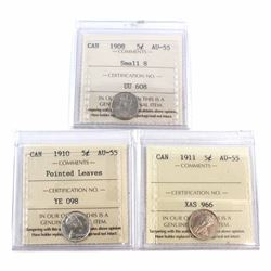 1905 Canada 5-cent 1908 Small 8, 1910 Pointed Leaves & 1911 ICCS Certified AU-55. 3pcs