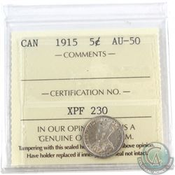 1915 Canada 5-cent ICCS Certified AU-50