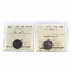 1870 Canada 10-cent Narrow 0 ICCS Certified VF-30 & 1871H F-15. 2pcs