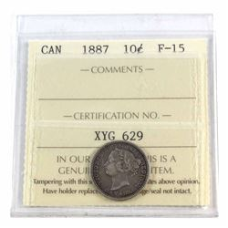 1887 Canada 10-cent ICCS Certified F-15