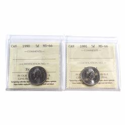 1990 & 1991 Canada 5-cent ICCS Certified MS-66. 2pcs