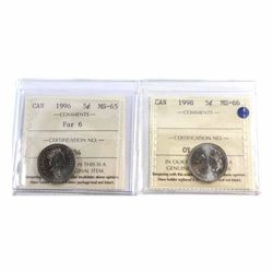 1996 Far 6 MS-65 & 1998 Canada 5-cent ICCS Certified MS-66. 2pcs