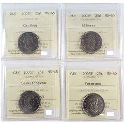 2005P Caribou, 2005P Alberta, 2005P Saskatchewan & 2005 Veterans 25-cent ICCS Certified MS-65. 4pcs
