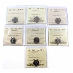 1970, 1971, 1972, 1973, 1975, 1976 & 1978 Canada 10-cent ICCS Certified MS-65. 7pcs