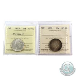 25-cent 1872H Obv. 2, & 1900, Both ICCS Certified EF-40. 2pcs