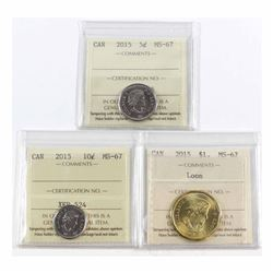 2015 Canada 5-cent, 10-cent & Loon $1 ICCS Certified MS-67. 3pcs
