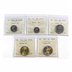 2017 Canada 150th Anniversary 5-cent, 10-cent, 50-cent, Loon $1 & $2 ICCS Certified MS-66. 5pcs
