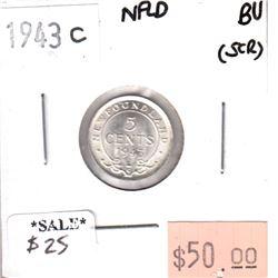 1943C Newfoundland 5-cents Brilliant Uncirculated (scratched)