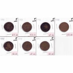 1904-1911 Canada 1-cents Extra Fine (impaired). You will receive a 1904, 1905, 1906, 1908, 1909, 191