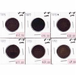 1896-1901 Canada 1-cent VF-EF (Impaired). You will receive an 1896, 1897, 1898H, 1899, 1900, and 190