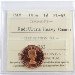 1964 Canada 1-cent ICCS Certified Ultra Heavy Cameo; PL-65 Red
