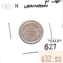 ERROR 1881H Canada 5-cents with Lamination Error F-VF (F-15)
