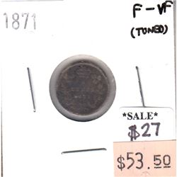 1871 Canada 5-cents in F-VF (F-15) Condition (toned)