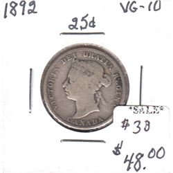 1892 Canada 25-cents in VG-10 Condition