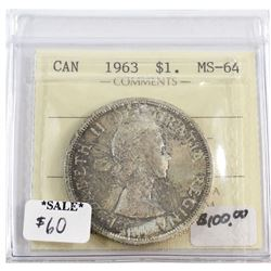 1963 Canada Silver Dollar ICCS Certified MS-64