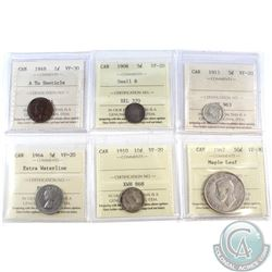 1910-1965 Canada ICCS Certified coins: 1949 1-cent A to Denticle VF-30, 1908 Small 8 5-cent VF-20, 1
