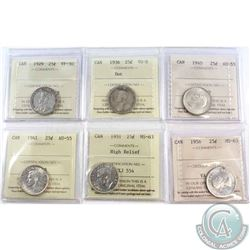 Lot of Canada 25-cent ICCS Certified coins: 1929 VF-30, 1936 Dot VG-8, 1940 AU-55, 1941 AU-55, 1951