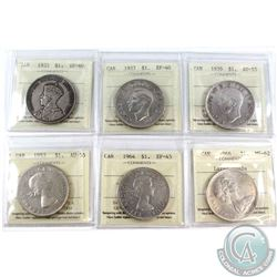 Lot of ICCS Certified Canada Silver Dollars: 1935 EF-40, 1937 EF-40, 1939 AU-55, 1953 NSF AU-55, 196