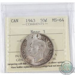 1943 Near 3 Canada 50-cent ICCS Certified MS-64.