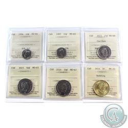 Lot of Canada ICCS Certified Coins - 1996 10-cent MS-64, 1997 10-cent MS-65, 2015 25-cent MS-66, 201
