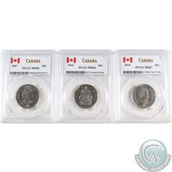 2007 MS-66, 2012 MS-66 & 2014 MS-67 50-cent PCGS Certified MS-66. 3pcs