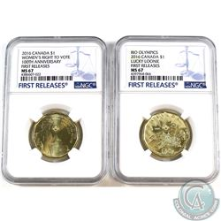 Pair of 2016 Canada Loon Dollar Women's Right to Vote & Lucky Loonie NGC Certified MS-67. 2pcs