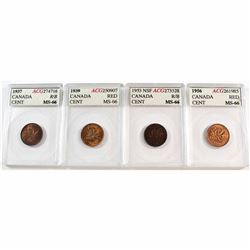 1937, 1939, 1953 NSF & 1956 Canada 1-cent ACG Certified MS-66. 4pcs