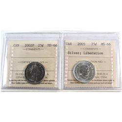 2002P, 2005 Liberation Canada 25-cent ICCS Certified MS-66. 2pcs