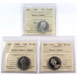 1966, 1968 Nickel & 1970 Canada 25-cent ICCS Certified PL-66 Heavy Cameo. 3pcs