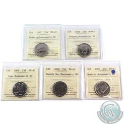2007 Wedding, 2008 Wedding, 2008 Sumi, 2008 Quatchi & 2008 Canada Day 25-cent ICCS Certified MS-67 N