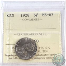 1928 Canada 5-cent ICCS Certified MS-63