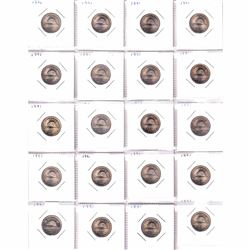 80x 1991 Canada 5-cents in UNC to BU condition (toned) 80pcs