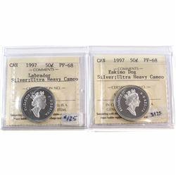 1997 Canada 50-cent Labrador & Eskimo Dog ICCS Certified PF-68 Silver; Ultra Heavy Cameo. 2pcs.