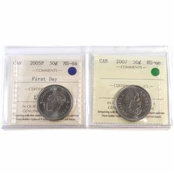 2005P First Day & 2007 Canada 50-cent ICCS Certified MS-66. 2pcs.