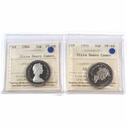 1984 & 1992 Canada 50-cent ICCS Certified PF-68 Ultra Heavy Cameo. 2pcs.