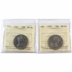 1981 & 1983 Canada 50-cent ICCS Certified MS-64. 2pcs.