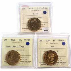 2002, 2003 New Effigy, 2004 Canada Loon Dollar ICCS Certified MS-66. 3pcs