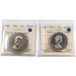 1971 Silver & 1973 Nickel Canada $1 ICCS Certified SP-67 Heavy Cameo. 2pcs.