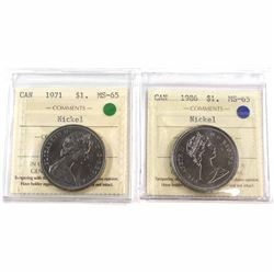1971 & 1986 Canada Nickel $1 ICCS Certified MS-65. 2pcs.